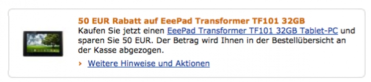 Aktion: Amazon bietet Eee Pad Transformer 32GB für 449 € an